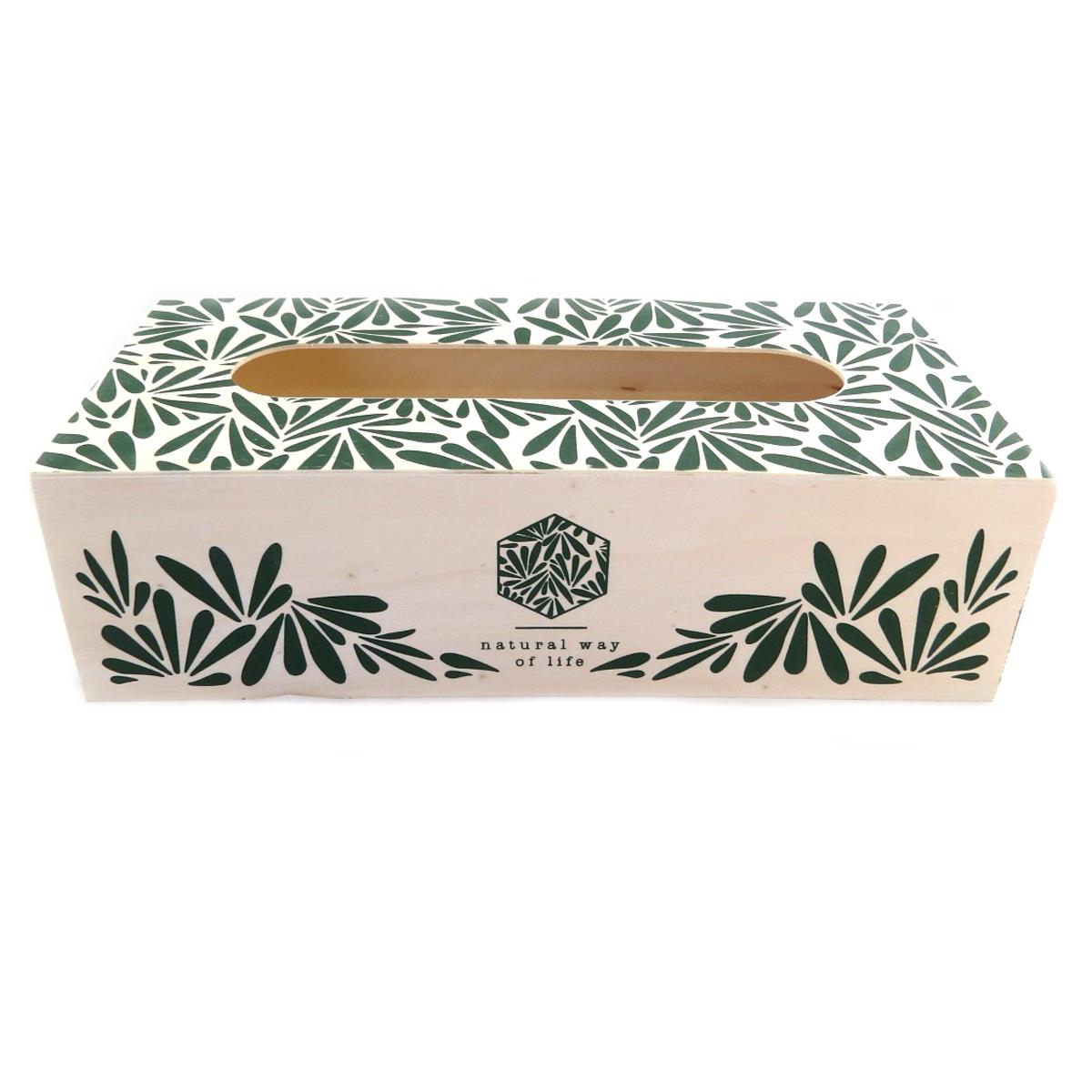 Boite à mouchoirs bois \'Jungle\' vert beige - 27x135x75 cm - [Q0365]