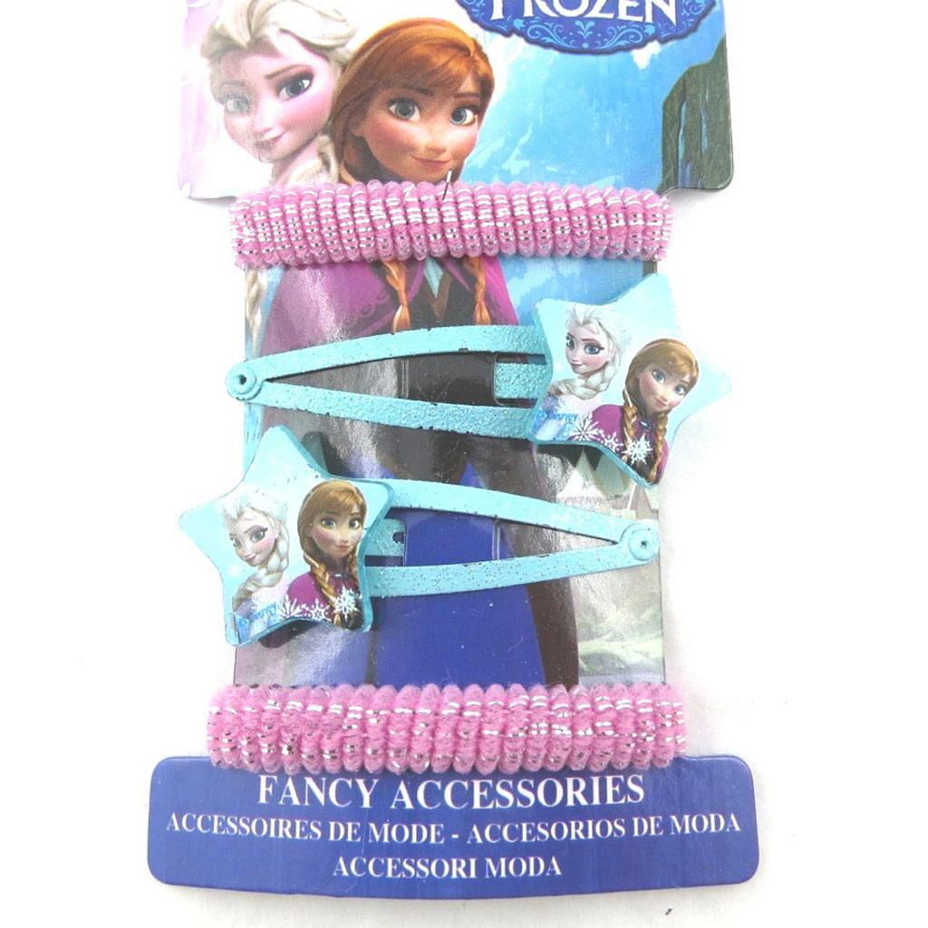 Barrettes + élastiques \'Frozen - Reine des Neiges\' bleu rose (4 pièces)  - [N0455]