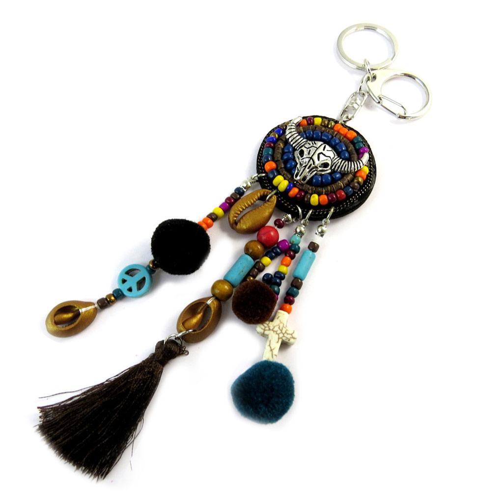 Bijoux de sac / Porte-Clés \'Navajos\' noir multicolore - 19 cm - [P0295]