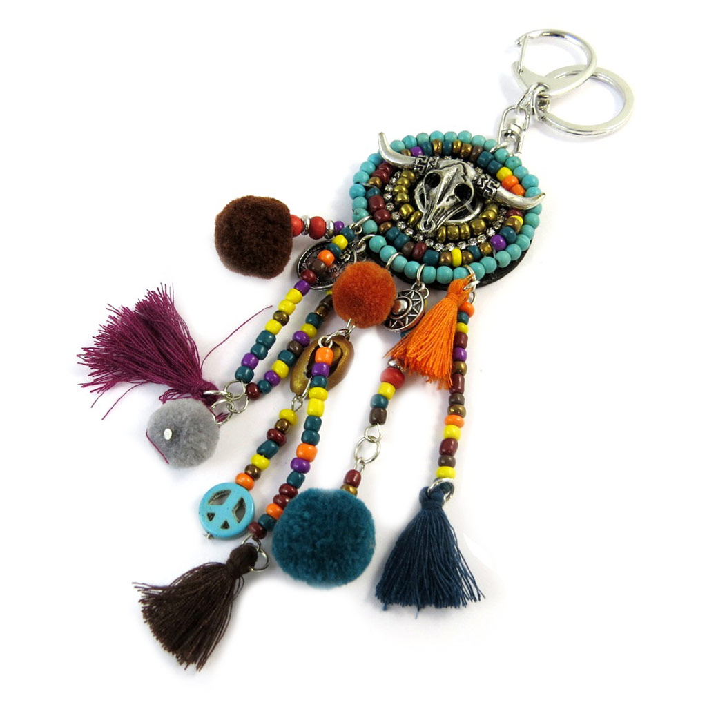 Bijoux de sac / Porte-Clés \'Navajos\' noir turquoise jaune orange - 19 cm - [P0296]