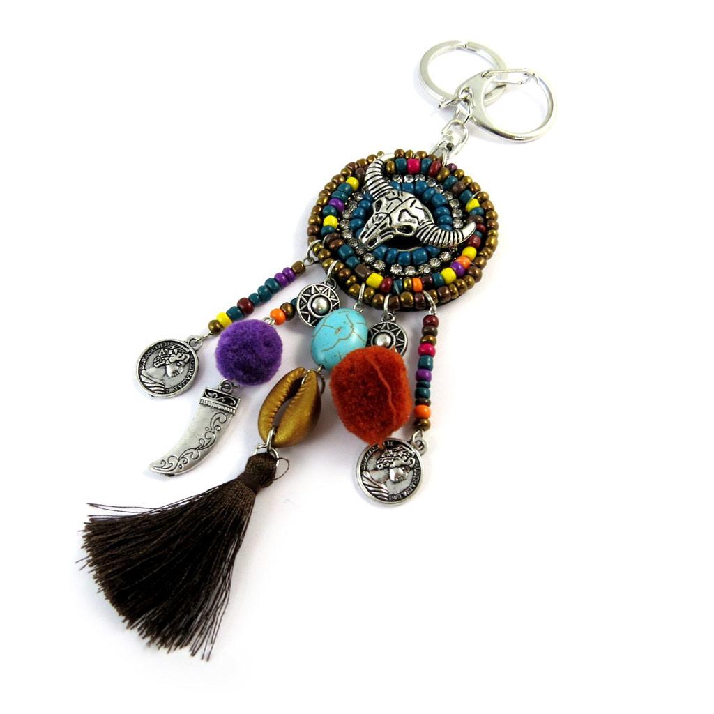 Bijoux de sac / Porte-Clés \'Navajos\' noir multicolore - 19 cm - [P0297]
