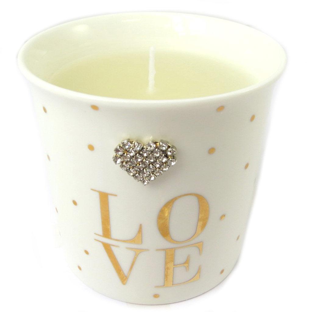 Bougie décorative \'Messages\' beige (Love) wild rose - 8x85 cm - [P0303]