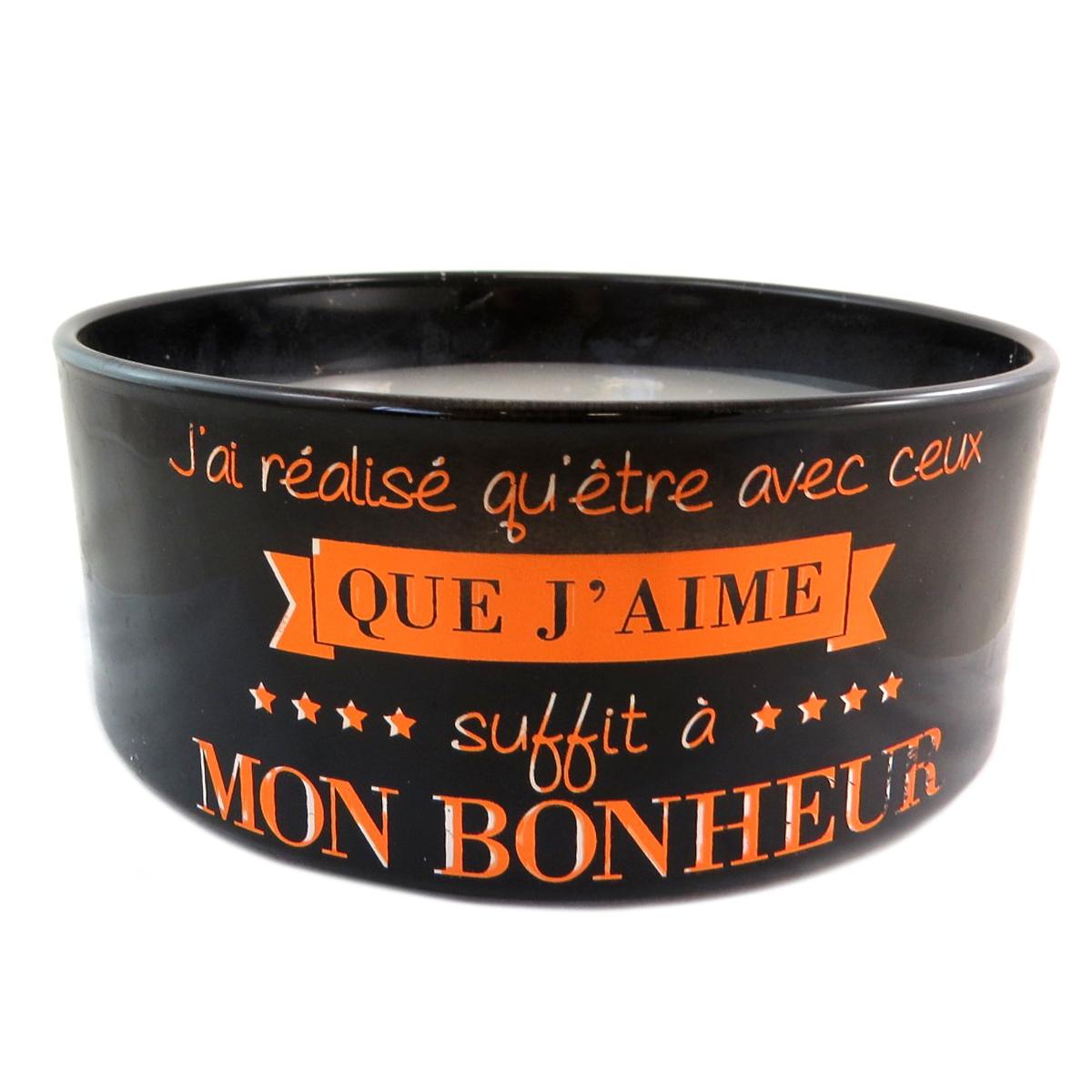 Bougie décorative \'Messages\' noir orange (Mon Bonheur) 5 mèches - 185x7 cm - [Q0377]