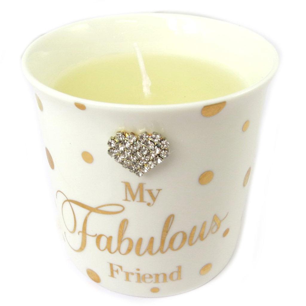 Bougie décorative \'Messages\' beige (My Fabulous Friend) cream vanilla - 8x85 cm - [P0305]