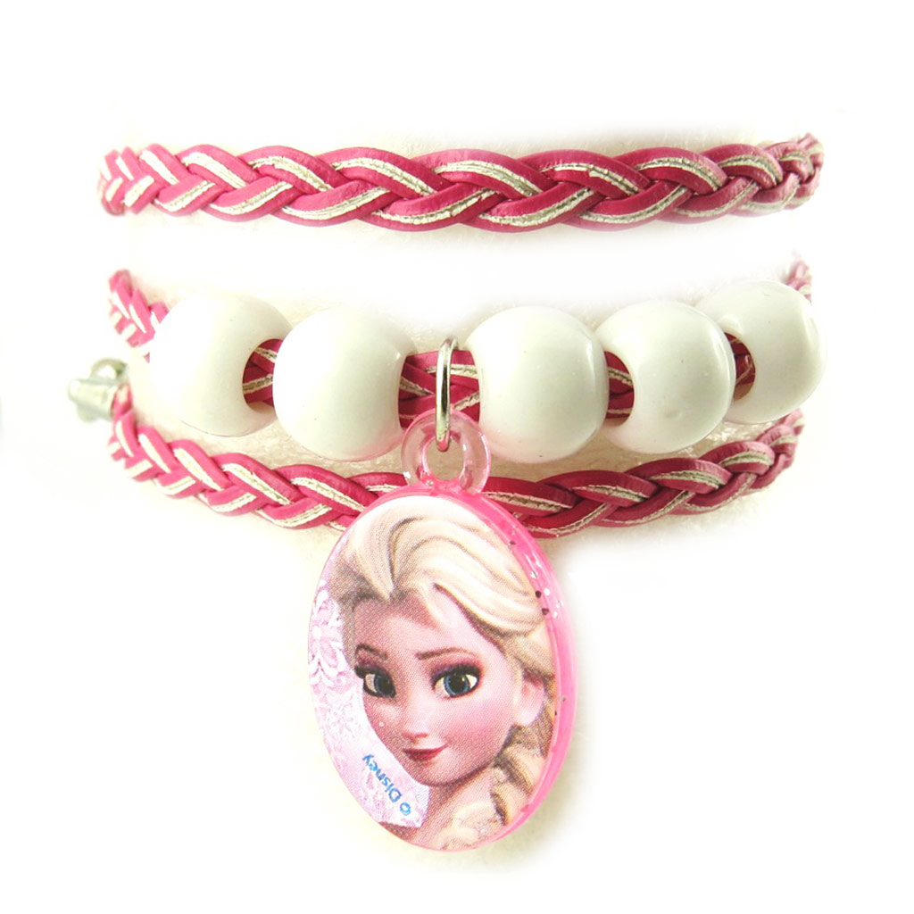 Bracelet créateur \'Frozen - Reine des Neiges\' rose - [N0464]