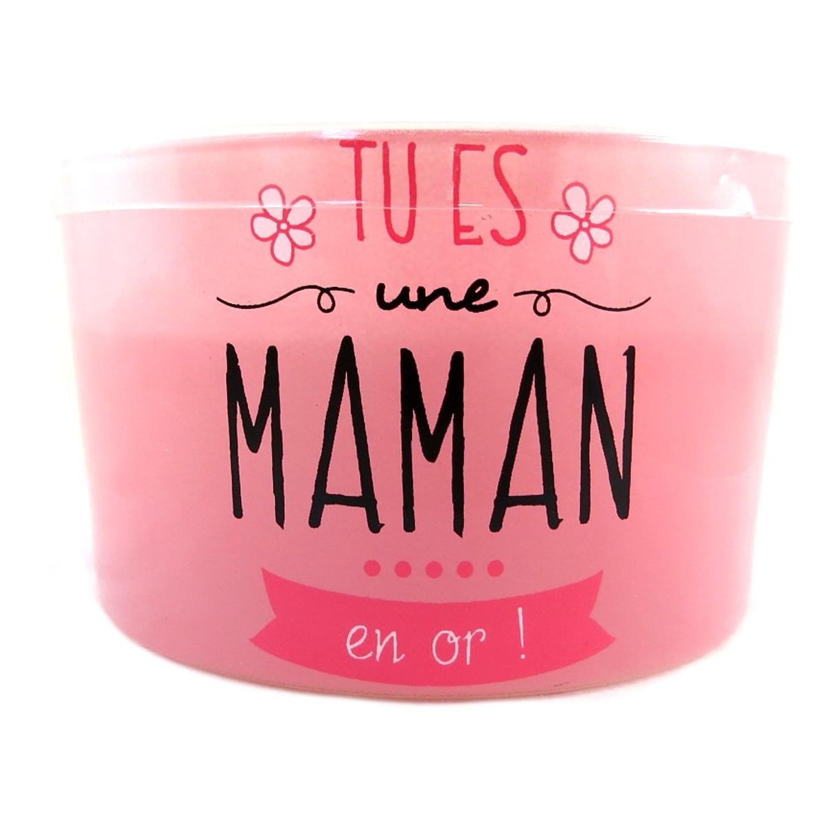 Bougie décorative \'Messages\' rose (Tu es une Maman en Or !) 3 mèches - 125x8 cm - [Q0380]