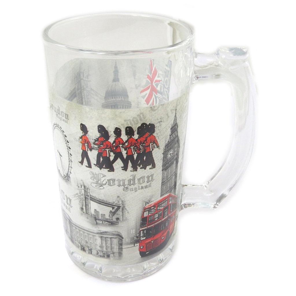 Chope à bière verre \'So British\' rouge blanc - 225x9 cm - [P0322]