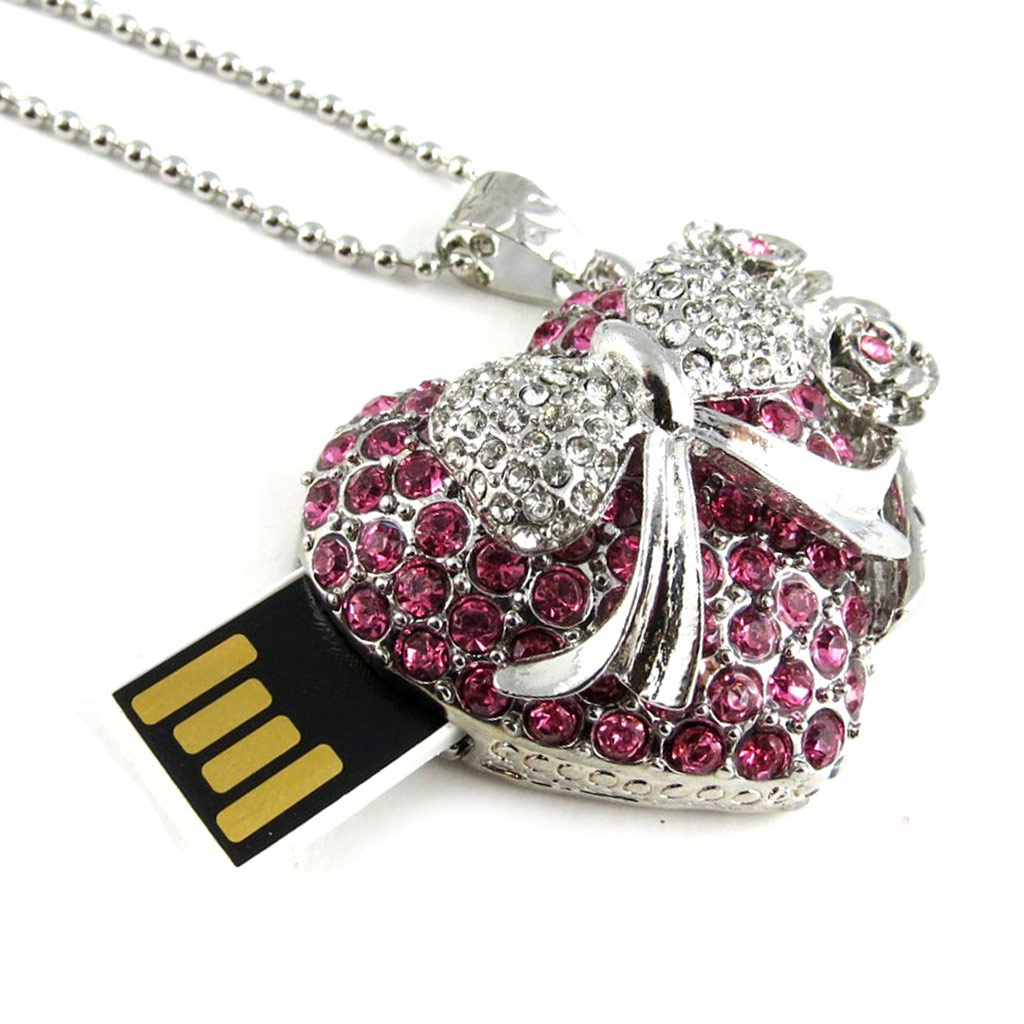 Clé USB collier \'Love\' rose chrome (8Go) - [L0575]