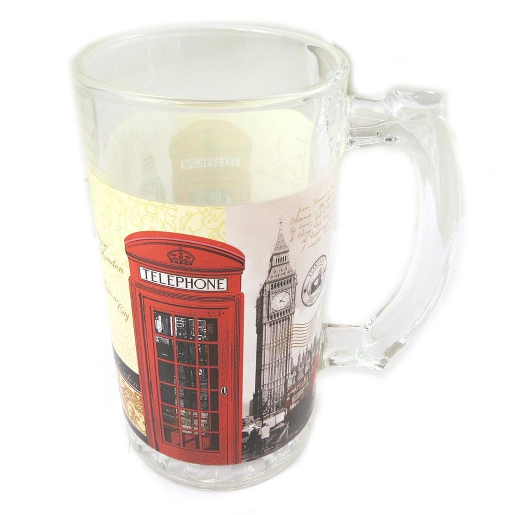 Chope à bière verre \'So British\' rouge blanc - 225x9 cm - [P0323]