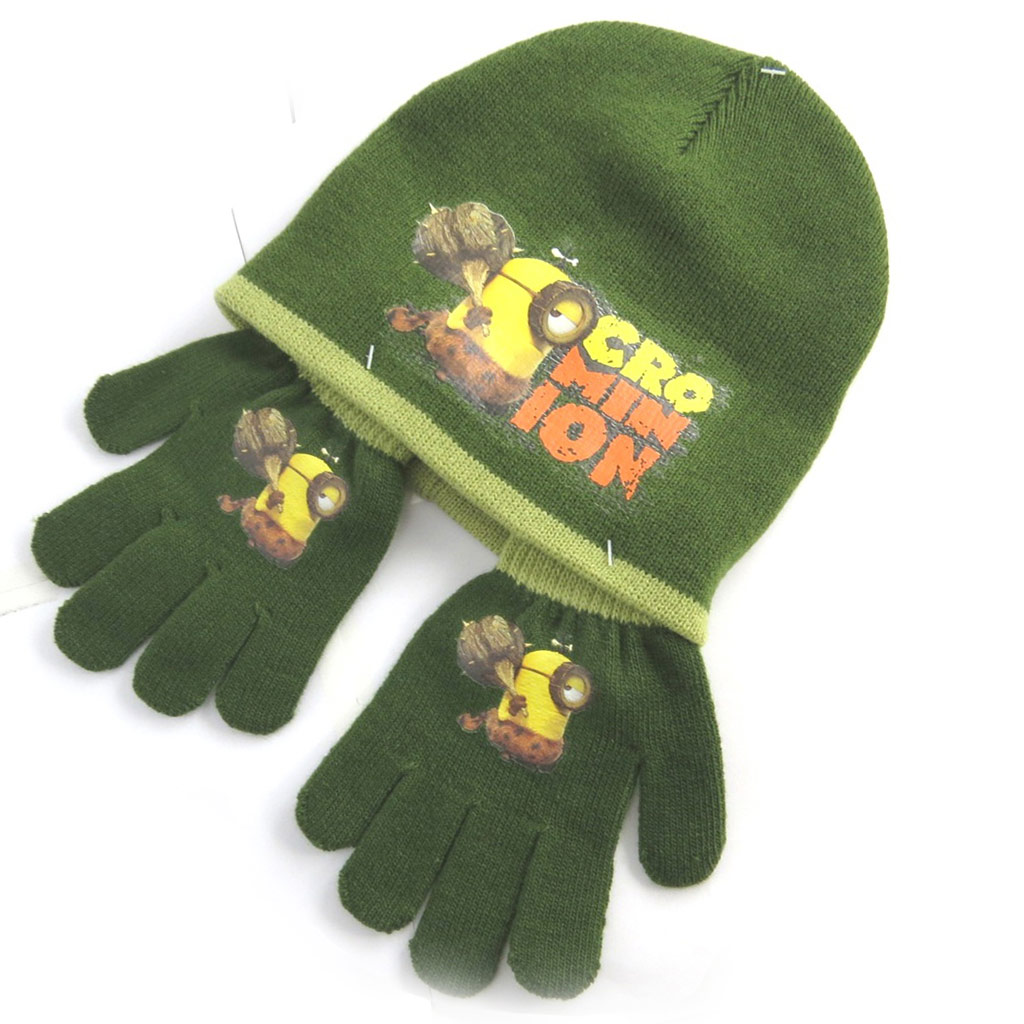 Ensemble gants et bonnet \'Minions\' vert - [N0488]