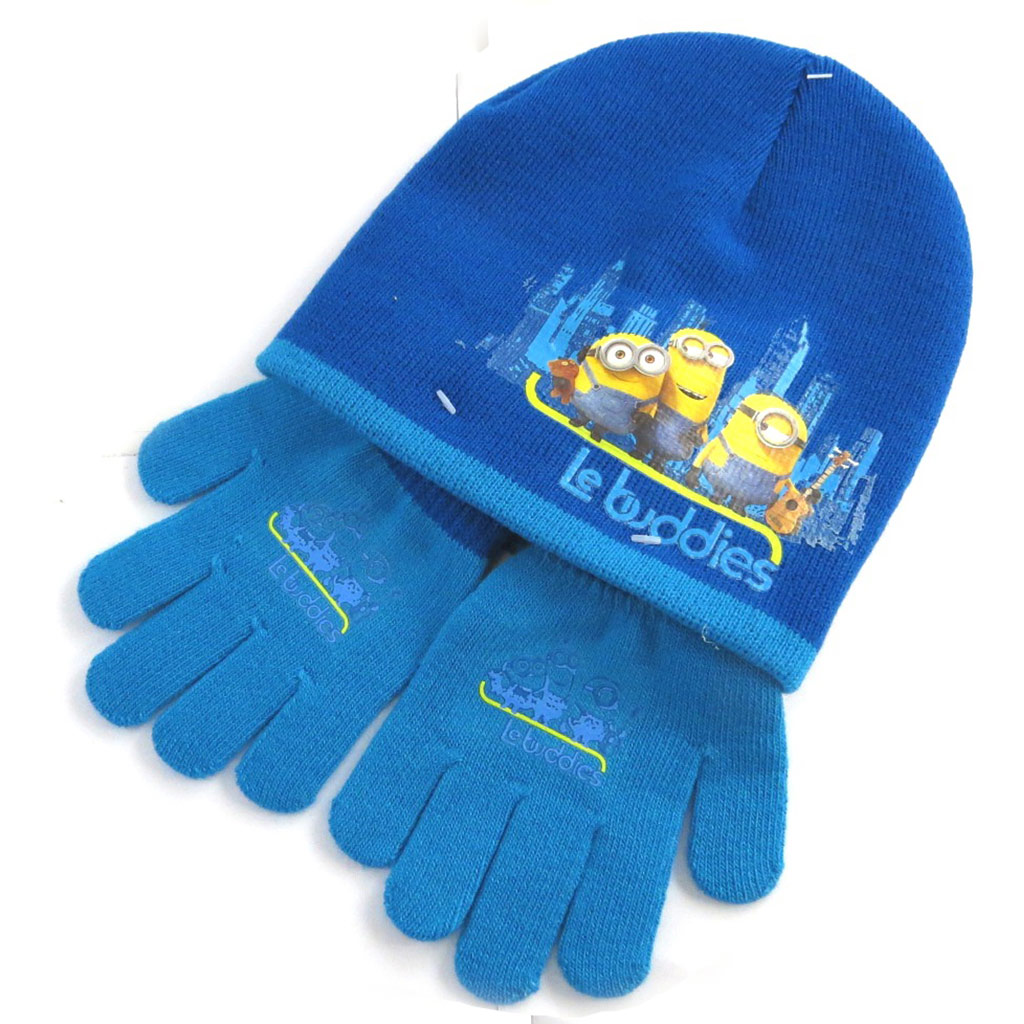 Ensemble gants et bonnet \'Minions\' bleu (le buddies) - [N0489]