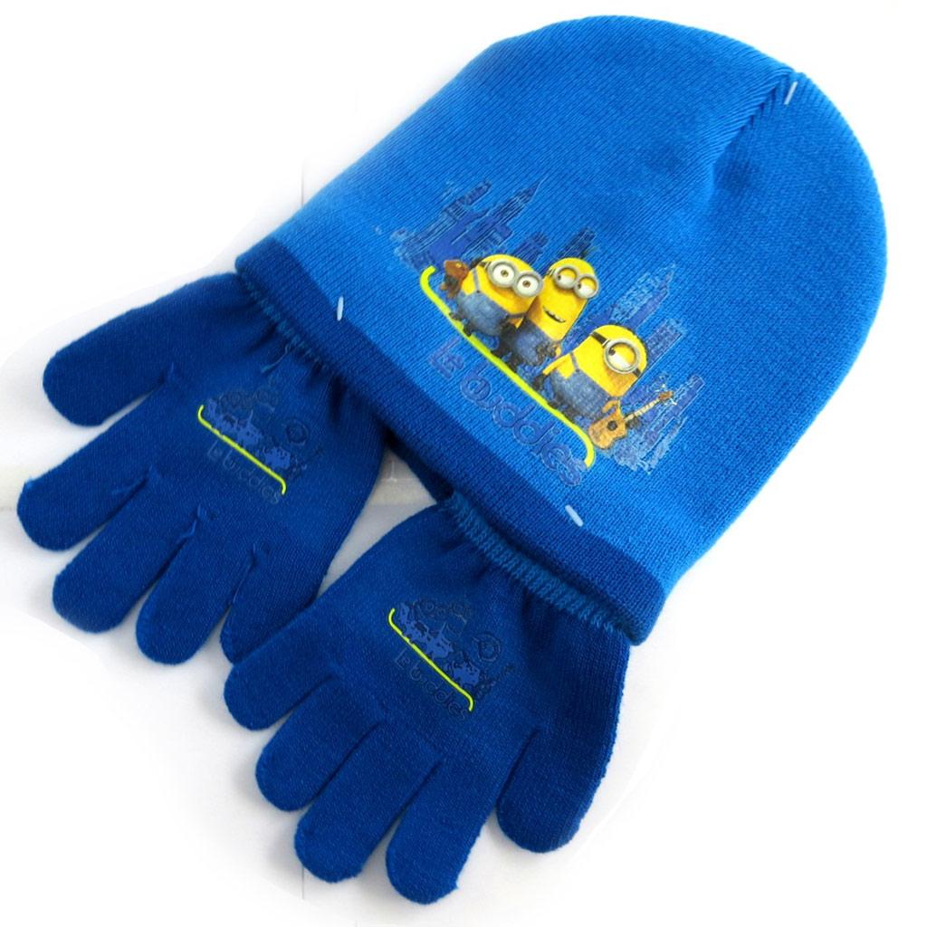 Ensemble gants et bonnet \'Minions\' bleu - [N0490]