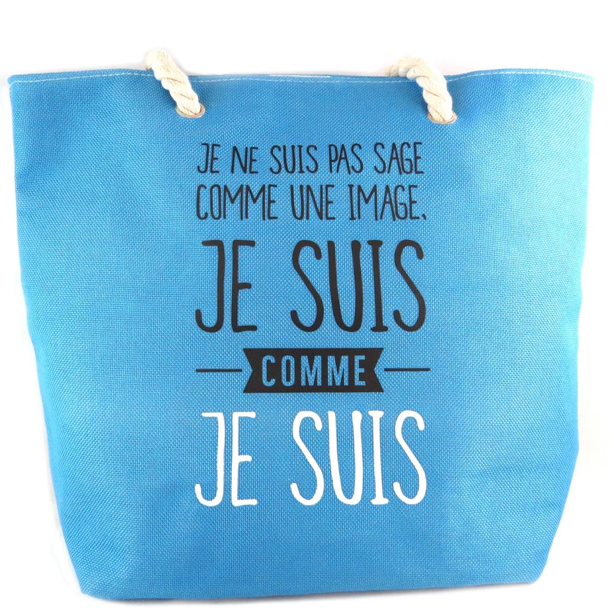 Cabas de plage \'Messages\' bleu (Je ne suis pas Sage comme une image Je suis comme Je Suis) - 45x36x155 cm - [Q0442]