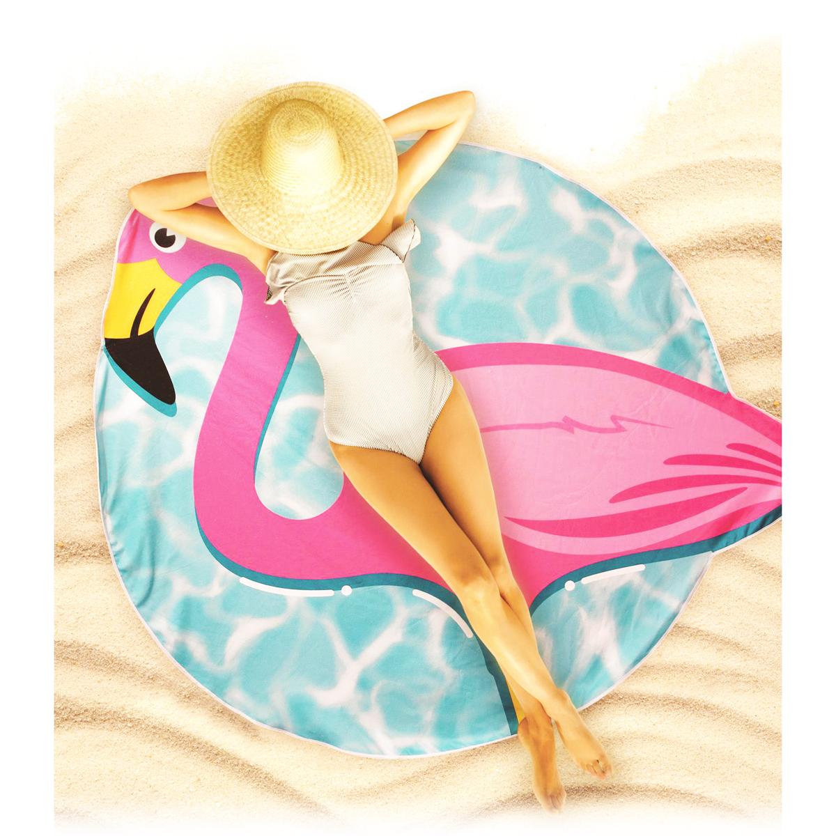 Serviette de plage créateur \'Flamant Rose\' rose bleu - 150 cm - [Q0525]