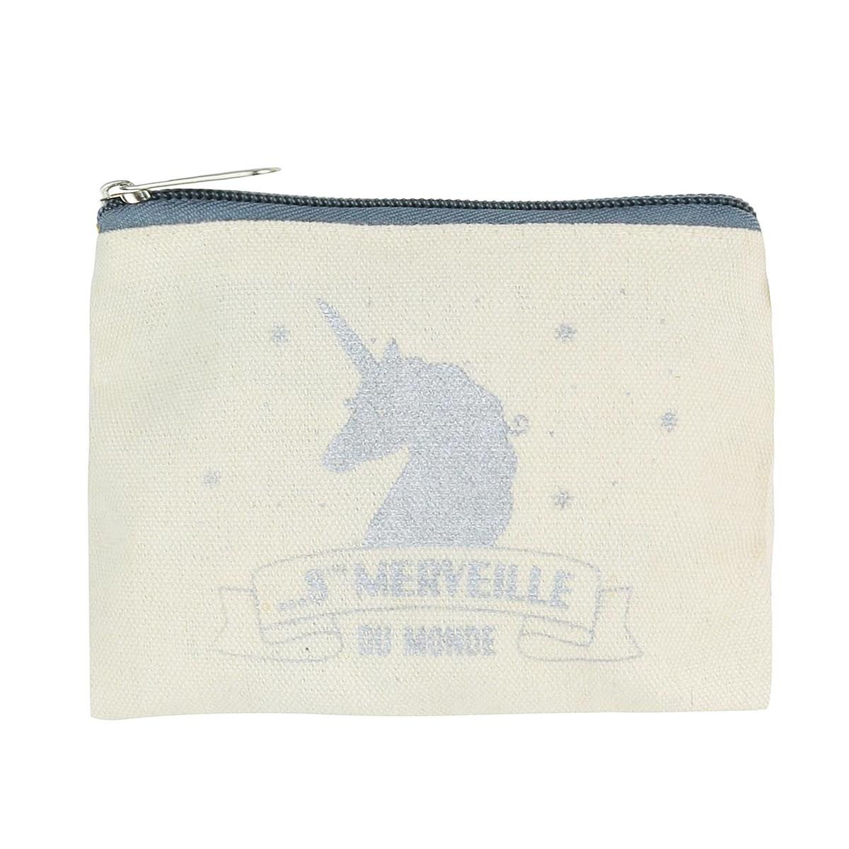 Porte-monnaie coton plat \'Licorne My Unicorn\' beige argenté (8ème merveille du monde) - 125x11 cm - [Q0526]