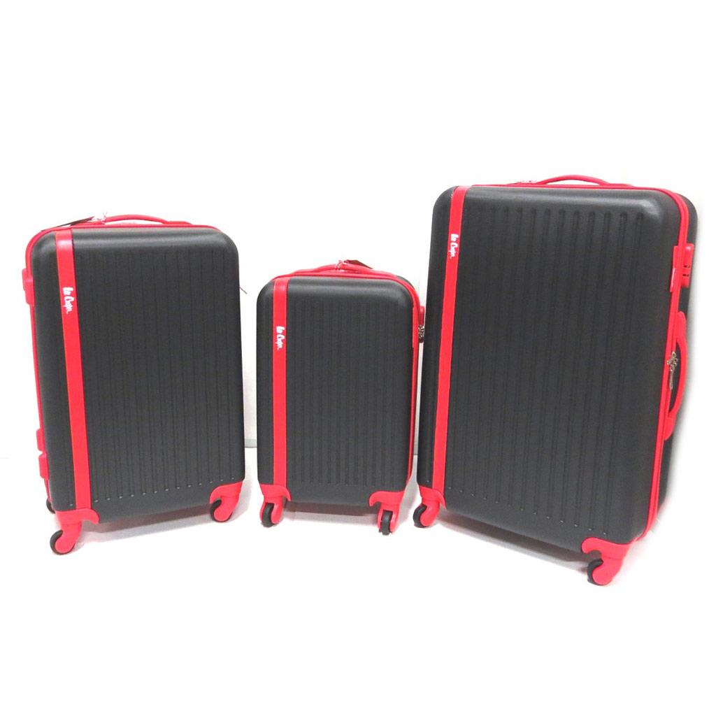 Set de 3 valises trolley ABS \'Lee Cooper\' noir rouge (55/65/75 cm) - [P0520]