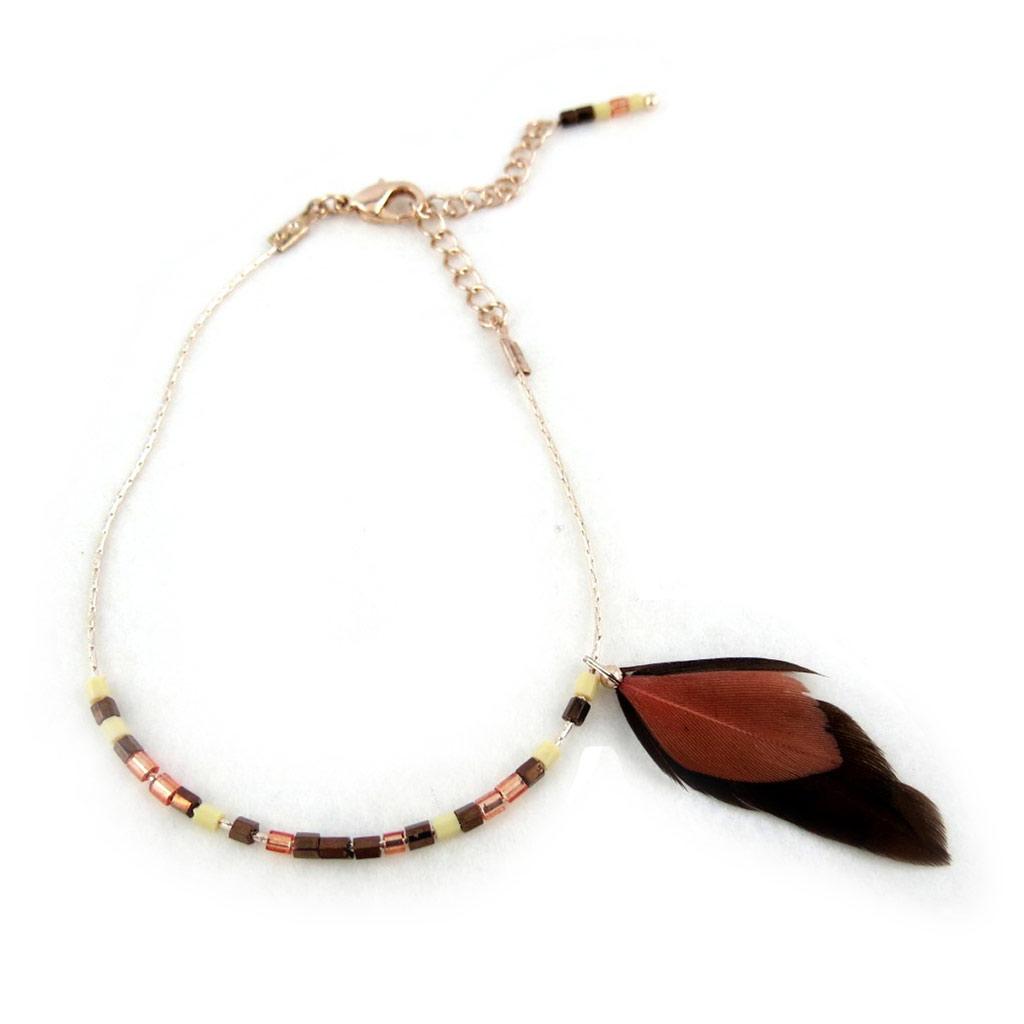 Bracelet \'Navajos\' marron doré - [N0742]