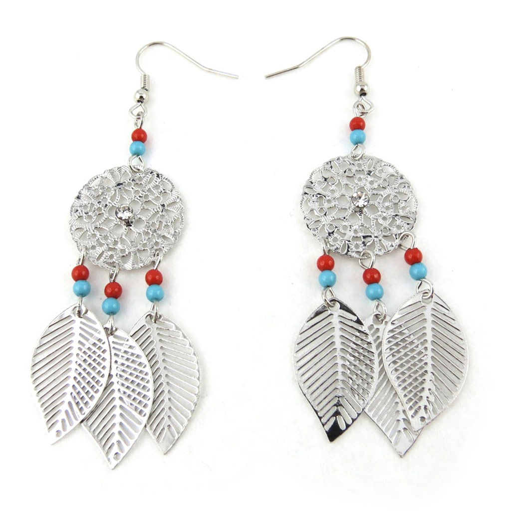 Boucles \'Navajos\' turquoise rouge - [N0754]