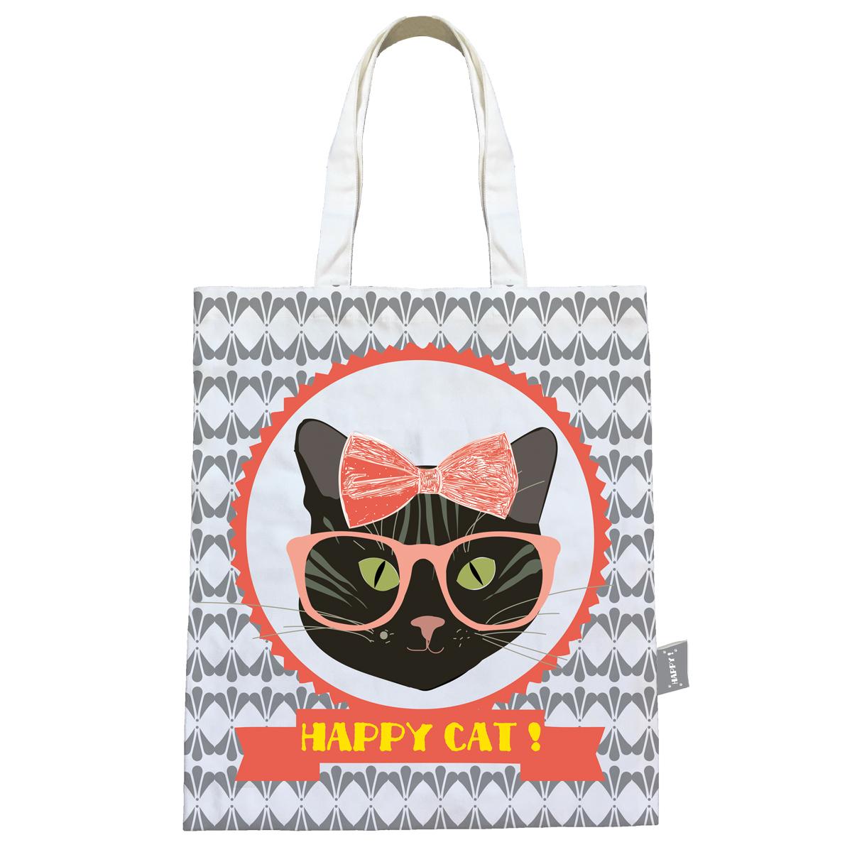 Sac coton / tote bag \'Happy Cat\' gris (lunettes) - 44x38 cm - [Q0594]