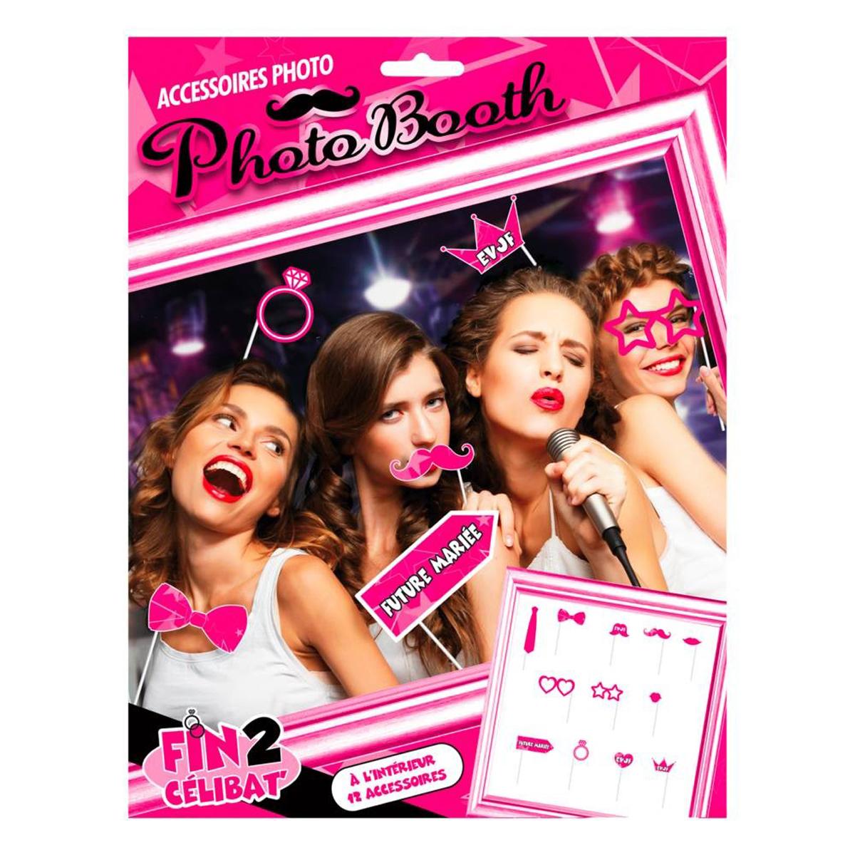 Accessoires Photo booth \'Enterrement de vie de jeune fille\' rose  (12 pièces) - [Q0618]