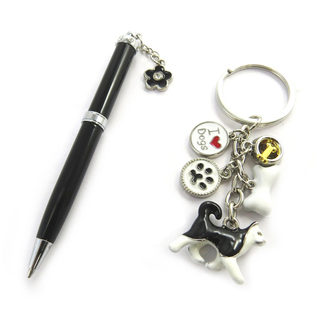 Coffret \'Sissi\' noir blanc (stylo + porte-clés) - [N0855]