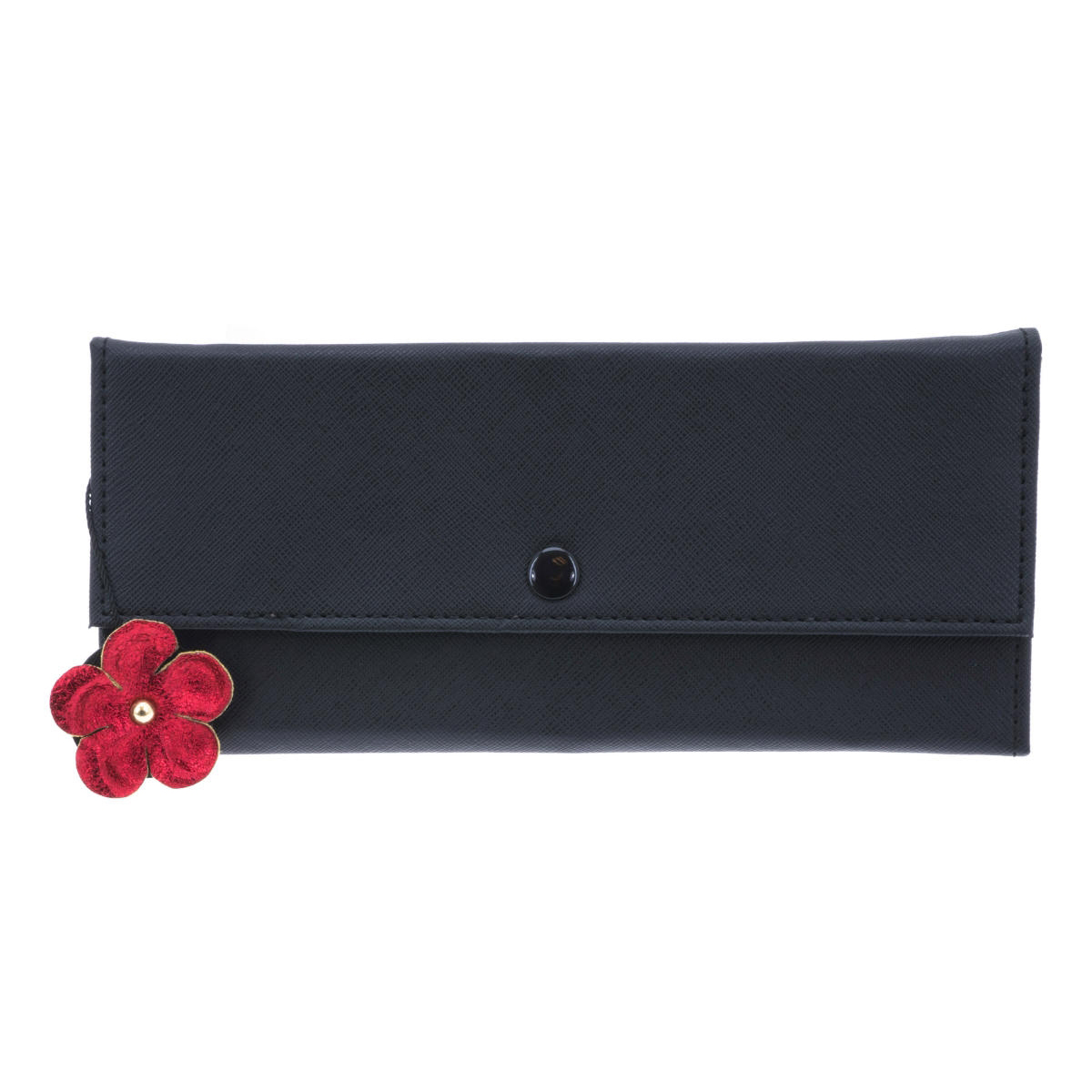 Trousse à bijoux de voyage \'Humeur Fleurie\' noir rouge - 22x11x2 cm - [Q0645]