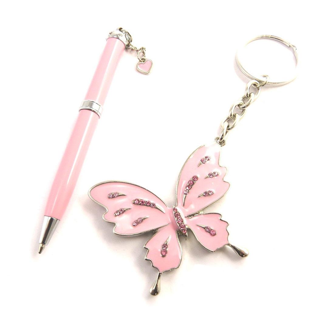 Coffret \'Sissi\' rose (stylo + porte-clés) - [N0858]