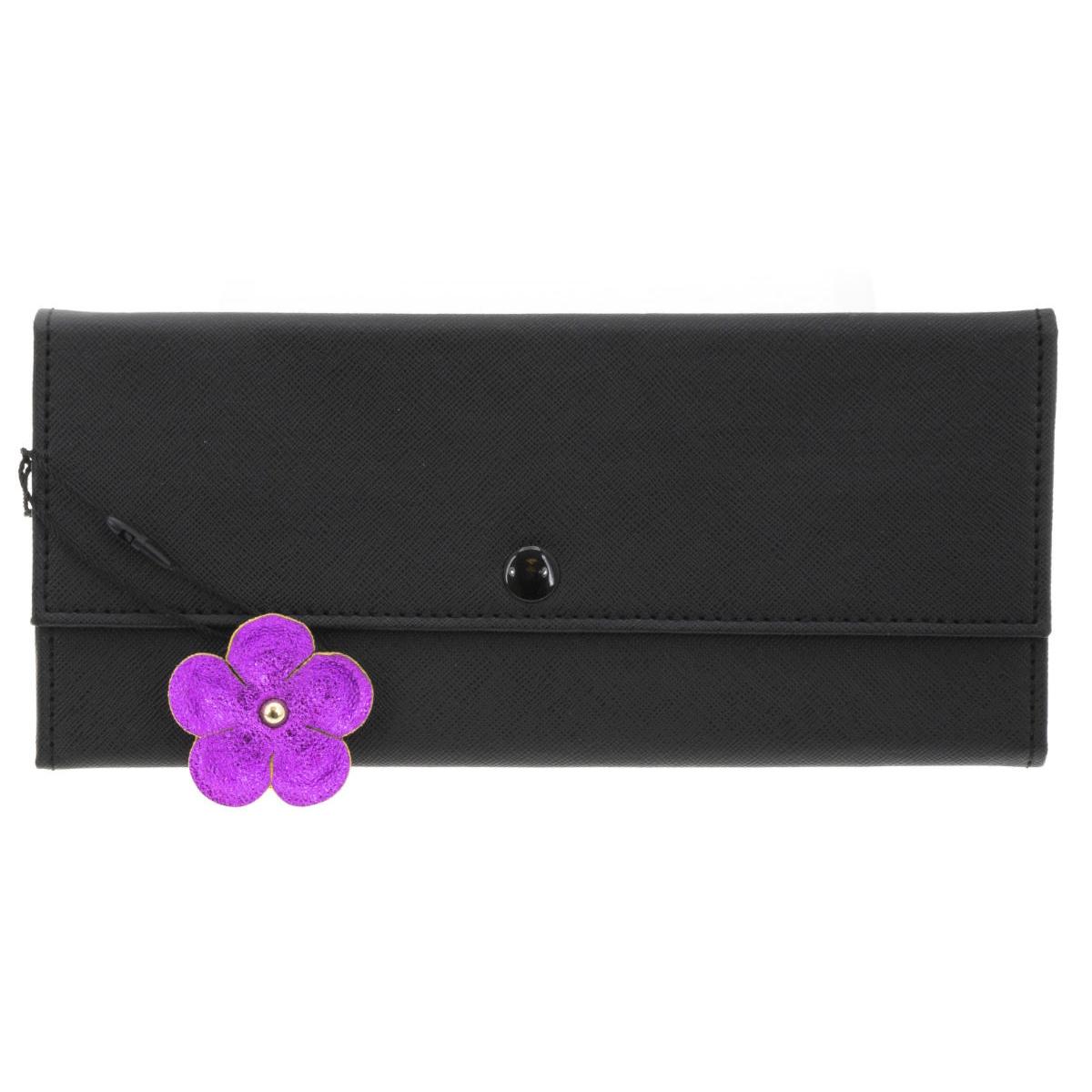 Trousse à bijoux de voyage \'Humeur Fleurie\' noir violet - 22x11x2 cm - [Q0647]