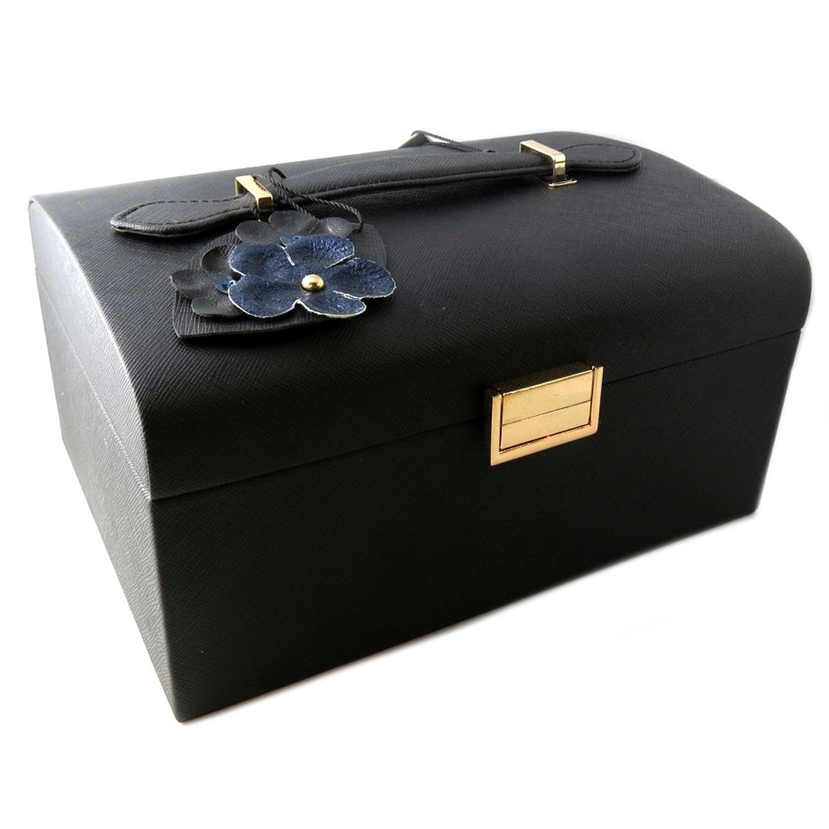 Coffret à bijoux \'Humeur Fleurie\' noir turquoise - 225x185x115 cm - [Q0652]