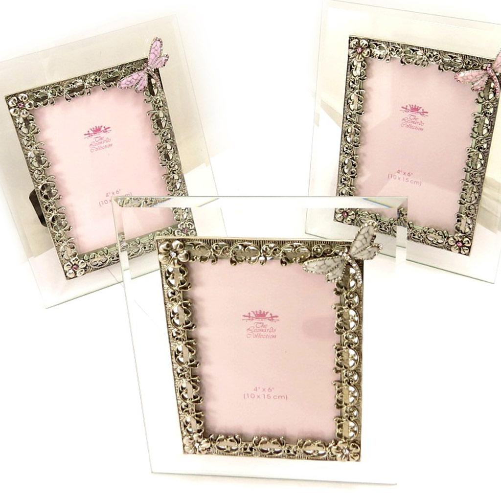 3 cadres photos \'Libellule de Soie\' blanc rose mauve - [L0850]