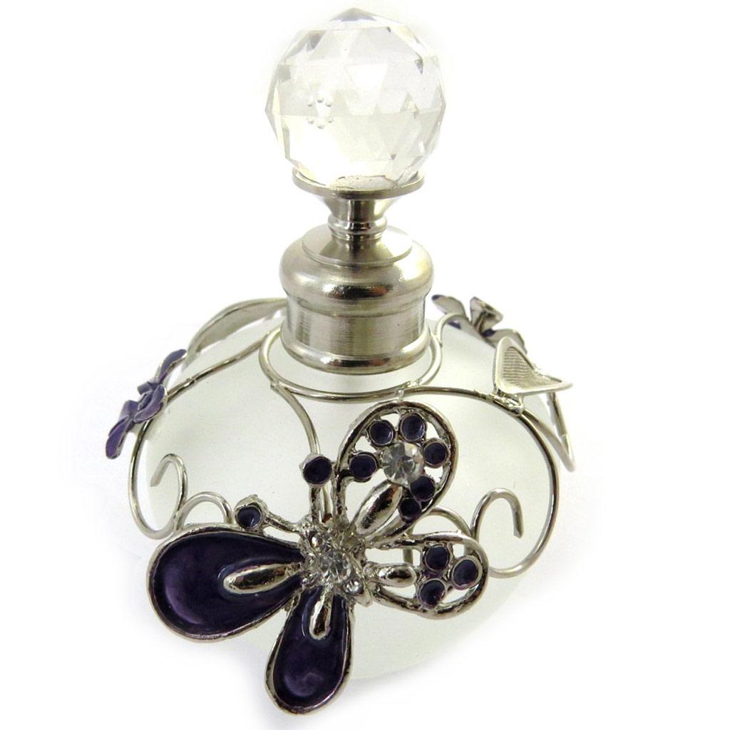 Flacon à Parfum \'Papillon de Soie\' violet - [N0894]