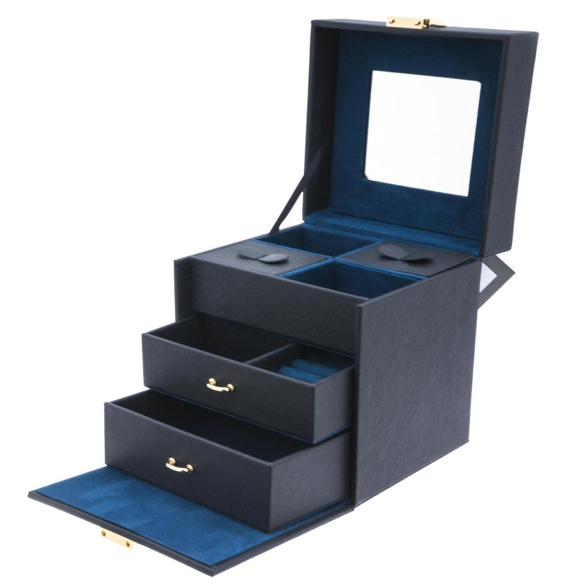 Coffret à bijoux \'Humeur Fleurie\' noir turquoise - 19x17x155 cm - [Q0656]