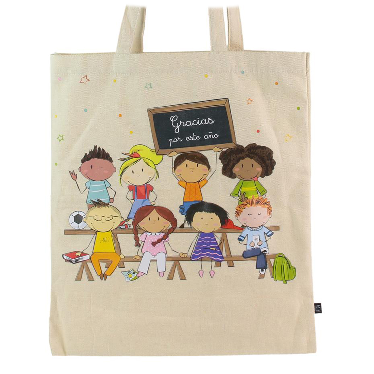 Sac coton / Tote bag \'Gracias por este ano\' beige -  415x35 cm - [Q0690]