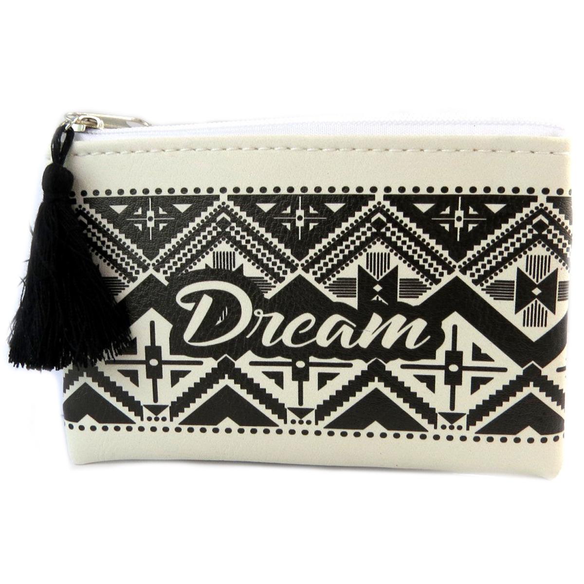 Porte-monnaie \'Boho\' blanc noir (dream) - 12x85 cm - [Q0753]