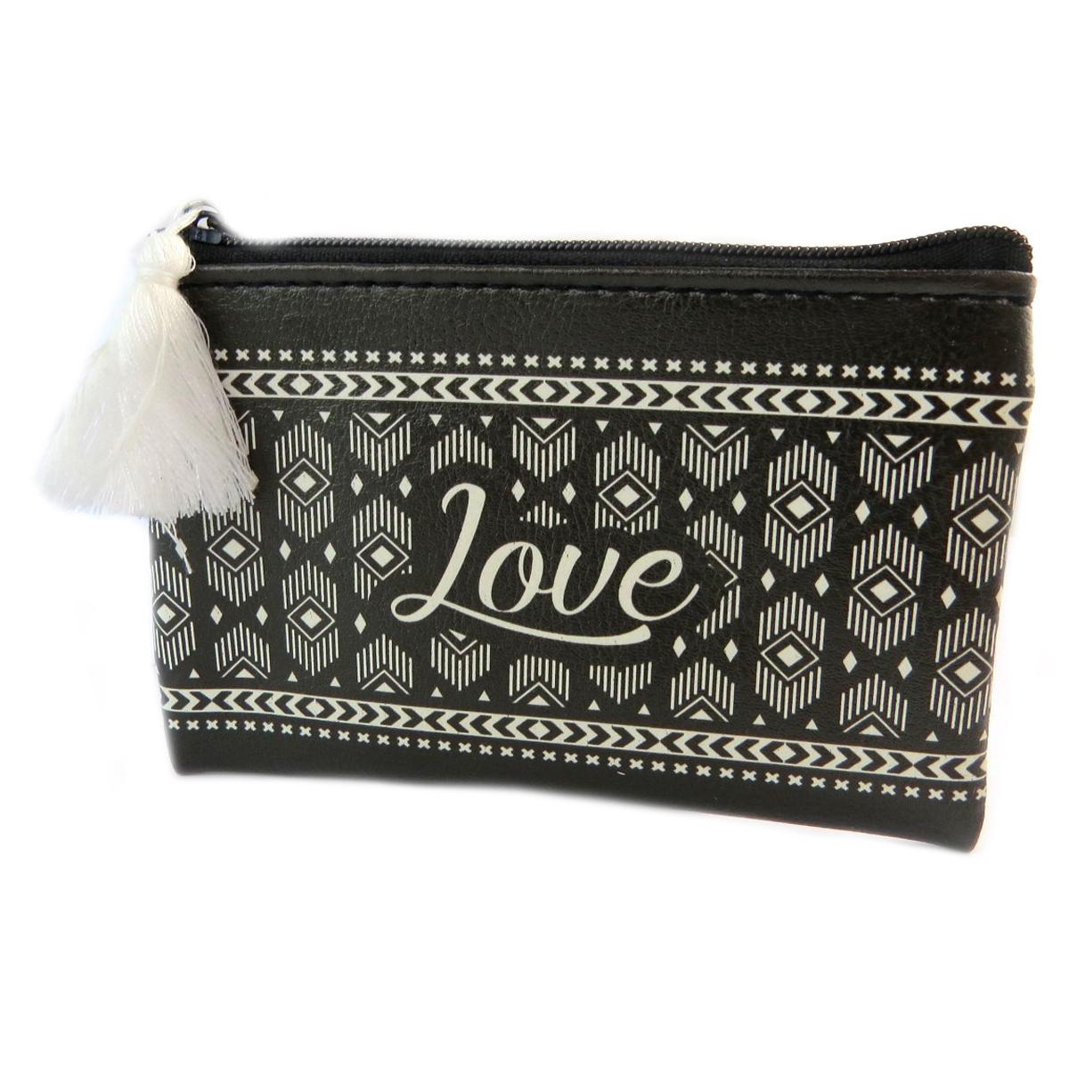 Porte-monnaie \'Boho\' noir blanc (love) - 12x85 cm - [Q0756]