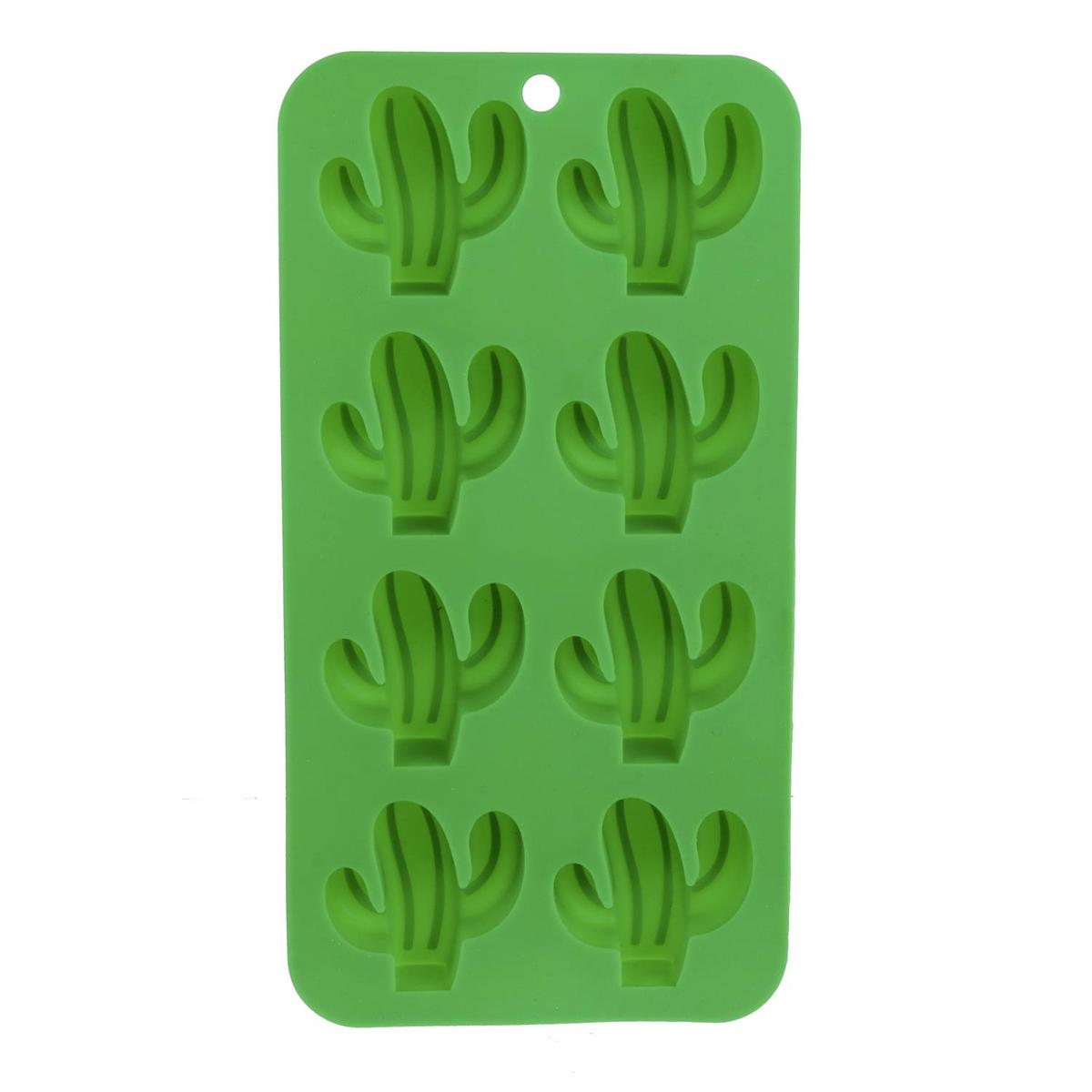 Moule à glaçons silicone \'Cactus\' vert (8 glaçons) - 21x11 cm - [Q0767]