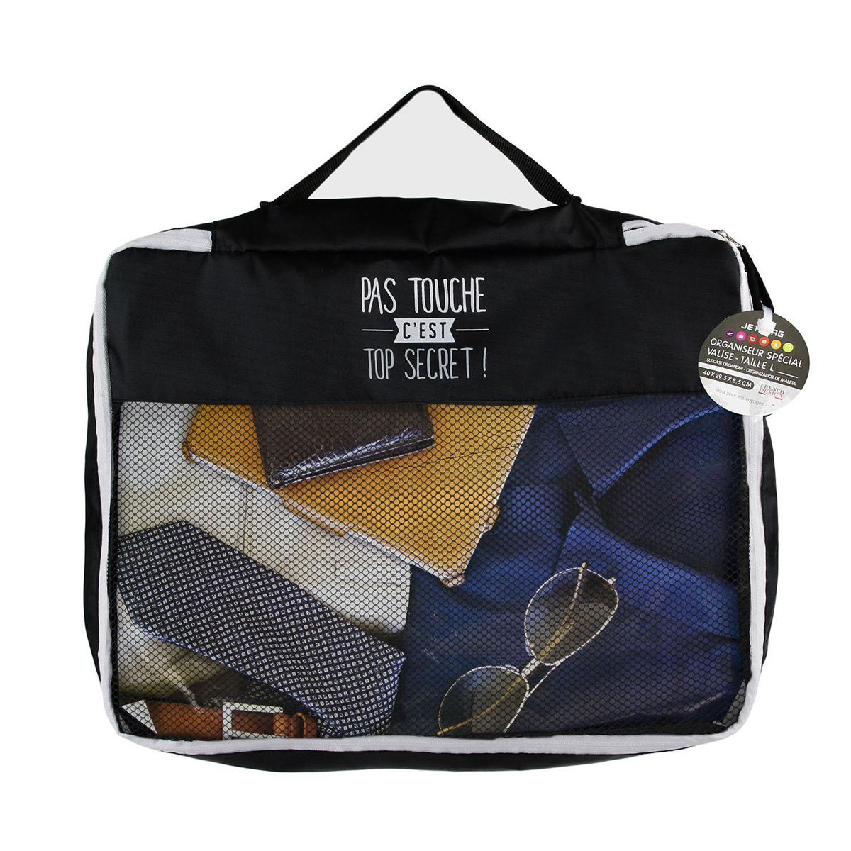 Organisateur valise \'Messages\' noir (Pas touche c\'est top secret) - 41x34x85 cm - [Q0795]
