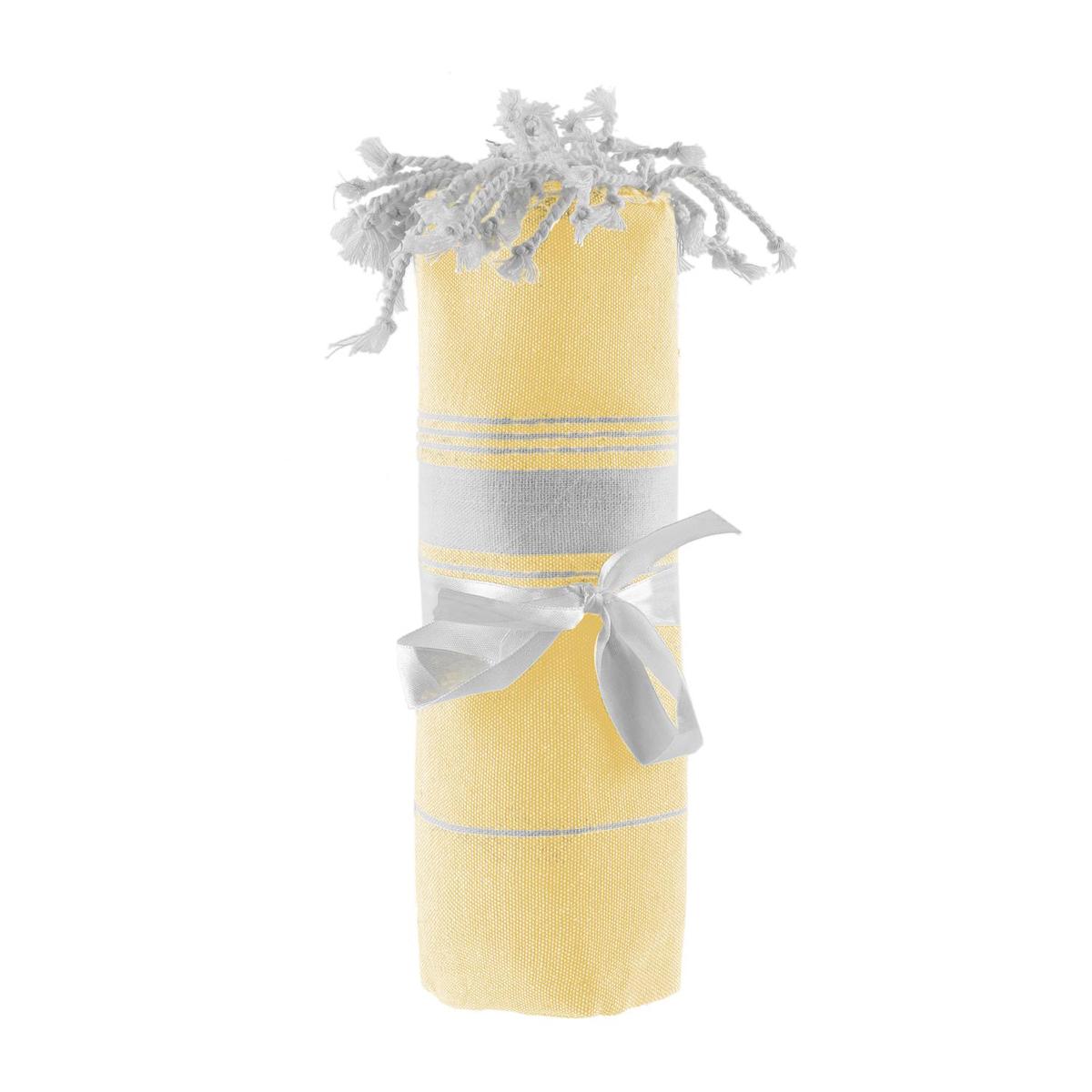 Foutas / serviette de plage coton \'Coloriage\' jaune - 170x90 cm - [Q0821]