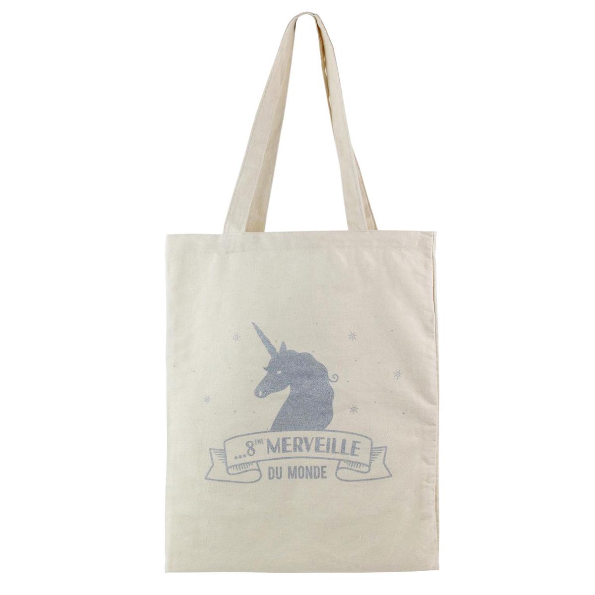 Sac coton / Tote bag \'Licorne My Unicorn\' beige argenté (8ème Merveille du Monde) -  41x345 cm - [Q0826]