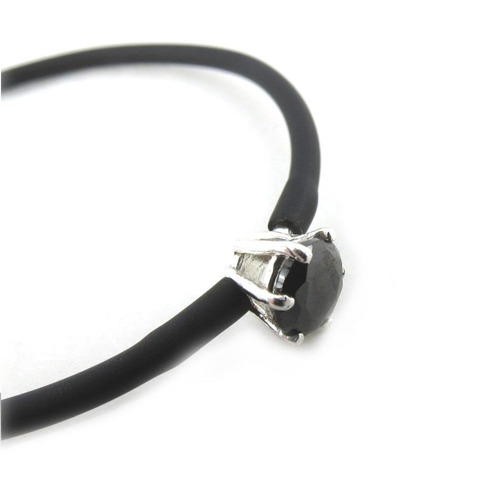 Bracelet Argent \'Sissi\' noir - [N1067]