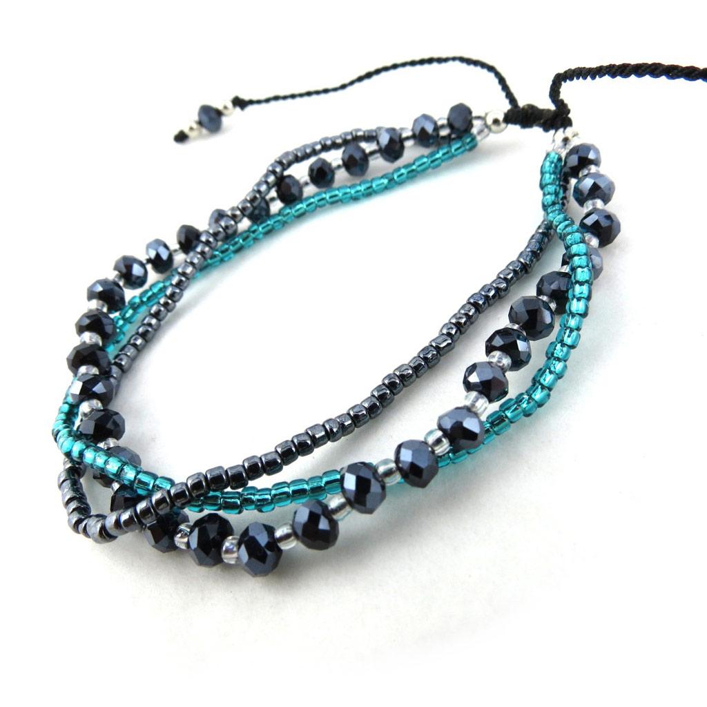 Bracelet ethnique \'Kilimanjaro\' gris vert  - [N1093]