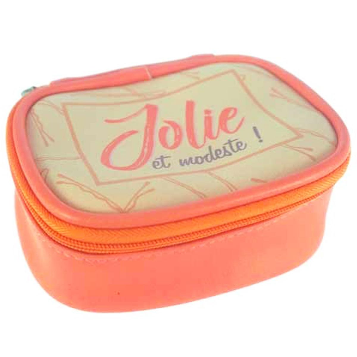 Petite boite à bijoux de voyage \'Messages\' pèche (Jolie et modeste !) - 115x95x5 cm - [Q0857]