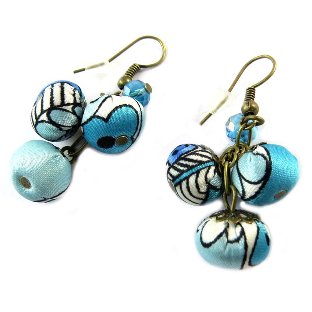 Boucles d\'oreilles artisanales \'Les Antoinettes\' lagon bleu (fait main) - [P0774]