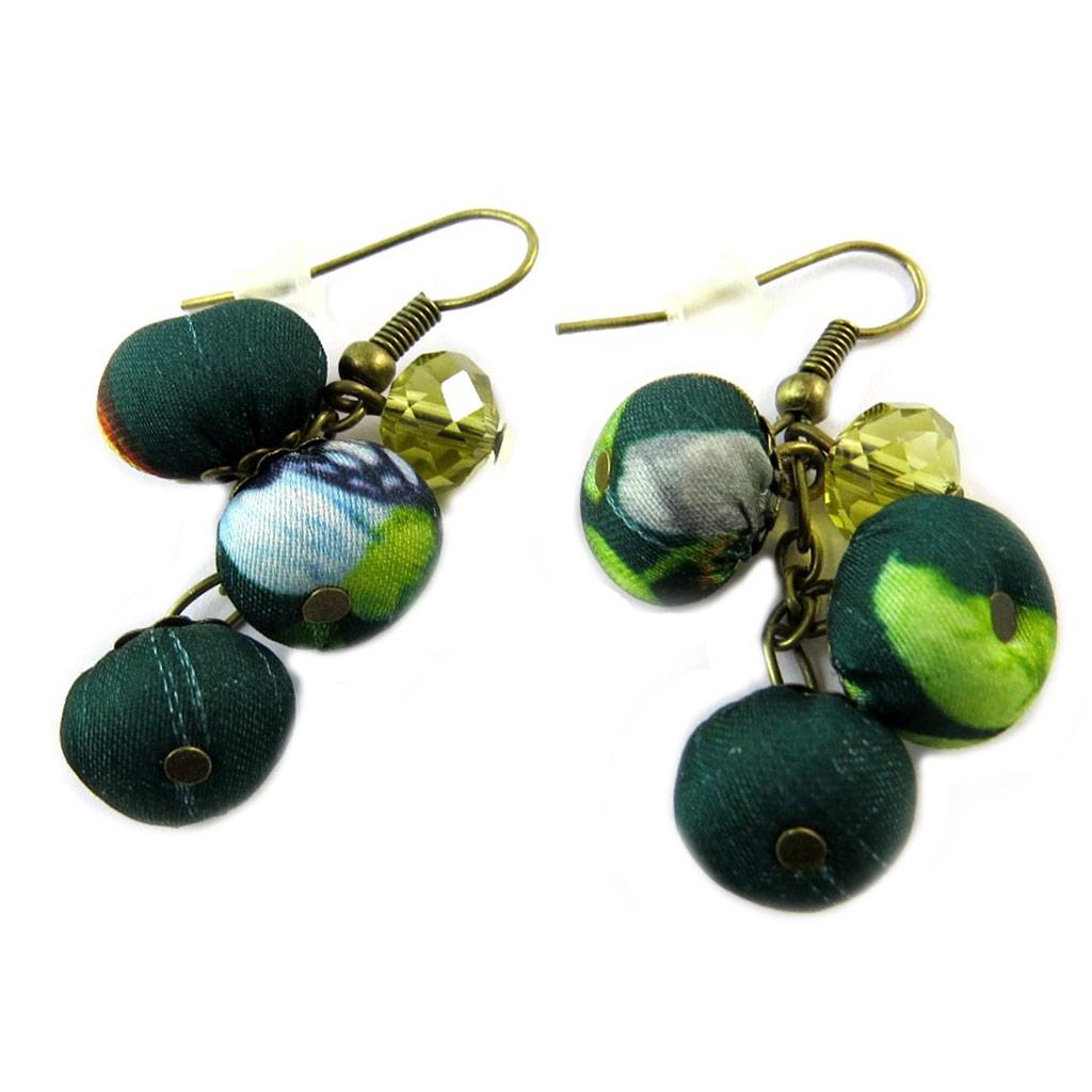 Boucles d\'oreilles artisanales \'Les Antoinettes\' vert émeraude (fait main) - [P0775]