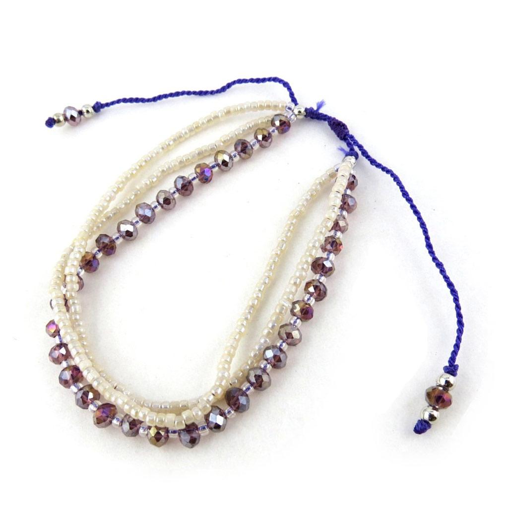 Bracelet ethnique \'Kilimanjaro\' blanc violet - [N1110]