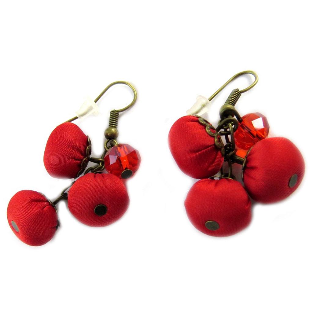 Boucles d\'oreilles artisanales \'Les Antoinettes\' rouge (fait main) - [P0777]