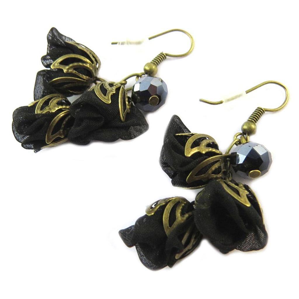 Boucles d\'oreilles artisanales \'Les Antoinettes\' noir (fait main) - [P0782]