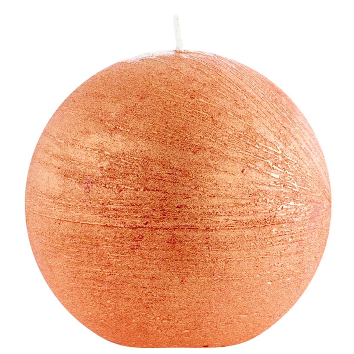 Bougie décorative ronde \'Zen\' orange cuivré vintage - 75 cm - [Q0892]