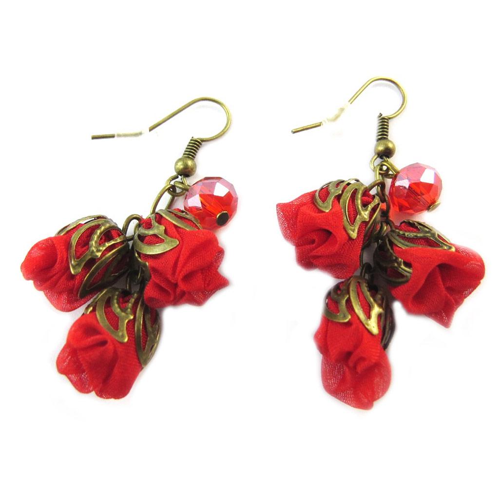 Boucles d\'oreilles artisanales \'Les Antoinettes\' rouge (fait main) - [P0785]