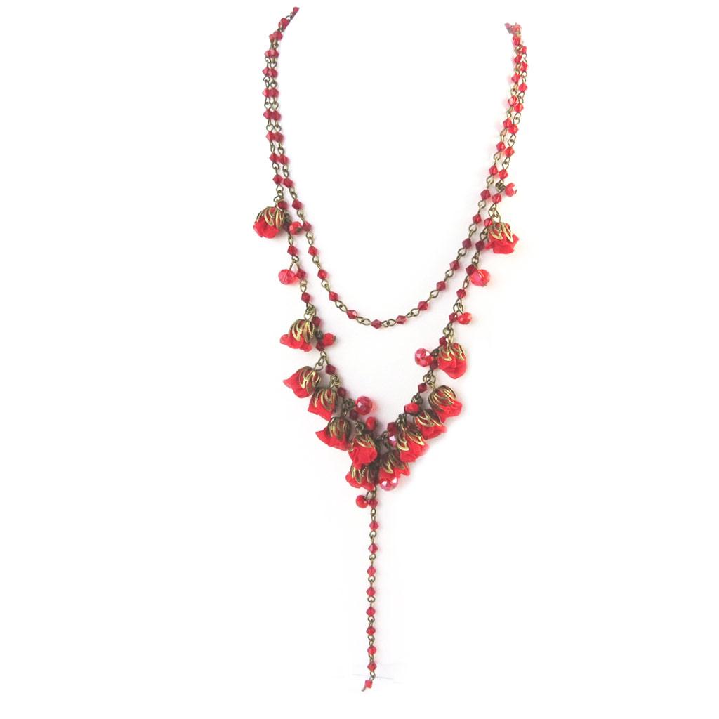 Collier artisanal \'Les Antoinettes\' rouge (fait main) - [P0787]